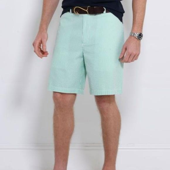 Vineyard Vines Shorts Club Short Green Seersucker Mens 33 Poshmark